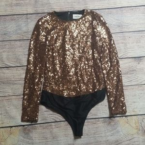 Line + Dot M gold sequin bodysuit